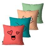 Kit com 4 Almofadas Decorativas Coloridas Carinhas Expressão