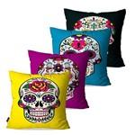 Kit com 4 Almofadas Decorativas Coloridas Caveiras Mexicanas