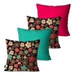 Kit com 4 Almofadas Decorativas Coloridas Flores