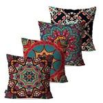 Kit com 4 Almofadas Decorativas Coloridas Mandalas