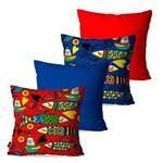 Kit com 4 Almofadas Decorativas Ilustração Peixes