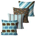Kit com 4 Almofadas Decorativas Infantil Azul Elefante Vintage