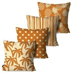 Kit com 4 Almofadas Decorativas Off White/Caramelo Tropical Abstrato
