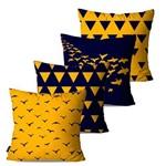 Kit com 4 Almofadas Decorativas Pássaros e Triângulos