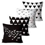 Kit com 4 Almofadas Decorativas Pássaros Geométrico