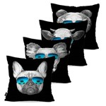 Kit com 4 Almofadas Decorativas Preto Animais Fashion