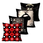 Kit com 4 Almofadas Decorativas Preto Cartas
