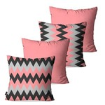 Kit com 4 Almofadas Decorativas Rosa Chevron
