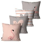 Kit com 4 Almofadas Decorativas Rosa Flamingos Love Girl