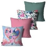 Kit com 4 Almofadas Decorativas Rosa Love Flamingos e Flores