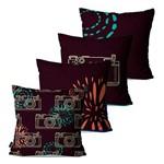 Kit com 4 Almofadas Decorativas Roxo Fotografia