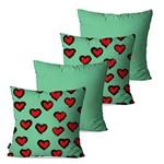Kit com 4 Almofadas Decorativas Verde Corações