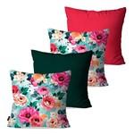 Kit com 4 Almofadas Decorativas Verde Floral