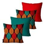 Kit com 4 Almofadas Decorativas Vermelho Folhas