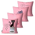 Kit com 4 Almofadas Infantil Rosa Cute Cats