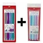 Kit com 4 Caneta Fine Pen Colors Faber Castell + 4 Canetas Fine Pen Pastel Faber Castell