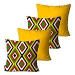 Kit com 4 Capas para Almofadas Decorativas Amarelo Étnica Geométrico