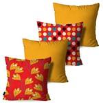 Kit com 4 Capas para Almofadas Decorativas Amarelo Ocre Flores Poá