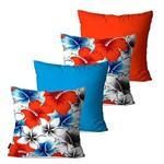 Kit com 4 Capas para Almofadas Decorativas Azul Flores