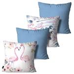 Kit com 4 Capas para Almofadas Decorativas Azul Love Flamingos