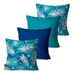 Kit com 4 Capas para Almofadas Decorativas Azul Penas
