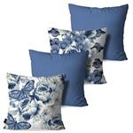 Kit com 4 Capas para Almofadas Decorativas Azul Vintage Flores Borboletas