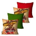 Kit com 4 Capas para Almofadas Decorativas Bege Caveiras Mexicanas