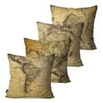 Kit com 4 Capas para Almofadas Decorativas Bege Mapas Continentes