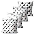 Kit com 4 Capas para Almofadas Decorativas Branco Instrumentos Musicais