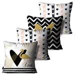 Kit com 4 Capas para Almofadas Decorativas Branco Love Flamingos