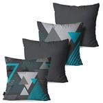 Kit com 4 Capas para Almofadas Decorativas Cinza Chumbo Geométrico