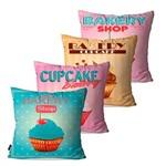Kit com 4 Capas para Almofadas Decorativas Cupcake Bakery