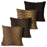 Kit com 4 Capas para Almofadas Decorativas Linhas Abstratas Douradas