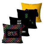 Kit com 4 Capas para Almofadas Decorativas Preto Play Game Over