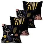 Kit com 4 Capas para Almofadas Decorativas Preto Tropical Flamingos e Folhas