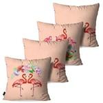 Kit com 4 Capas para Almofadas Decorativas Rosa Envelhecido Flamingos e Flores