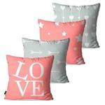 Kit com 4 Capas para Almofadas Decorativas Rosa Love