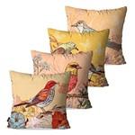 Kit com 4 Capas para Almofadas Decorativas Tons Pássaros