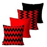 Kit com 4 Capas para Almofadas Decorativas Vermelho Chevron