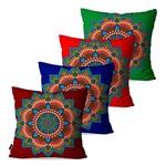 Kit com 4 Capas para Almofadas Decorativas Vermelho Mandala