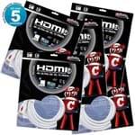 Kit com 5 Cabos HDMI 2.0 4K Ultra HD 3D, Branco - 5 Metros