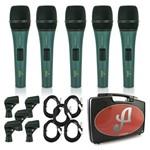 Kit com 5 Microfones Arcano Dinâmicos, com Fio, Platinum-b8kit Xlr