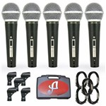 Kit com 5 Microfones Arcano Dinamicos com Fio Renius-8kit Xlr-p10