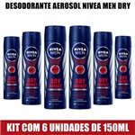 Kit com 6 Desodorante Nívea Aerosol For Men Dry Impact 150ml
