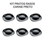 Kit com 6 Pratos Quadrado Preto - Raso - 27 Cm - Luminarc