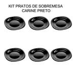 Kit com 6 Pratos Quadrado Preto - Sobremesa - 19 Cm - Luminarc