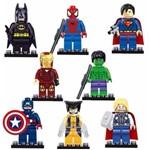 Kit com 8 Personagens Super Heróis Marvel Dc Vingadores Compatível Lego