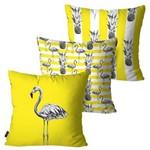 Kit com 3 Almofadas Decorativas Amarelo Flamingos