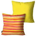 Kit com 2 Almofadas Decorativas Amarelo Listras