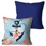 Kit com 2 Almofadas Decorativas Azul Âncora